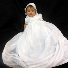Will'beth Smocked Christening Gown with Bonnet