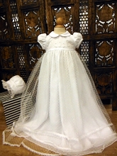 Will'beth Sheer Dot Overlay Christening Gown