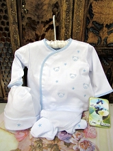 Will'beth Embroidery Layette 3-Pieces Set White-Blue
