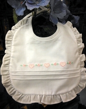 Will'beth Heart Bib's White-Pink