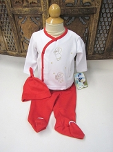 Willbeth 3pc White Red Angel Layette Set