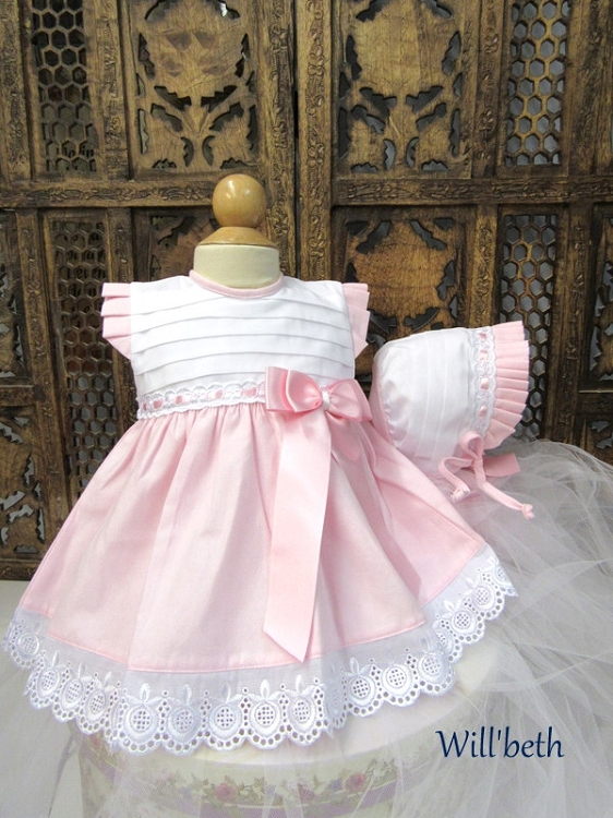 5cc0e1dba Will'beth Sweet White Pink Eyelet Lace Dress W/Bonnet. Tap to expand