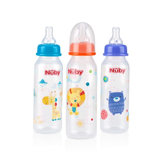 Nuby Non Drip Feeding Nurser Standard Neck 8 Oz 3 Pk