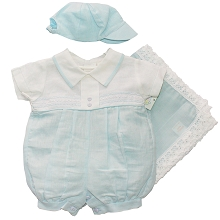 Karela Kids Bubble Romper with Cap and Blanket Boy, White-Blue