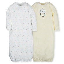 Gerber 2 Pack Gown Neutral Clouds  0-6 Months