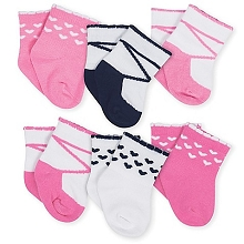 Gerber 6-Pack Terry Bootie Socks, Girl-Pink Fox  6-9 Months