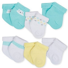 Gerber 6-Pack Terry Bootie Socks, Neutral-Clouds 6-9 Months