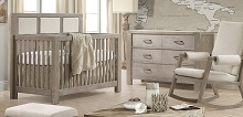Natart Juvenile Ithaca Furniture Set Crib with Upholstered Panel Talc