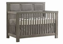 Natart Juvenile Ithaca Furniture Set Crib with Upholstered Panel Fog