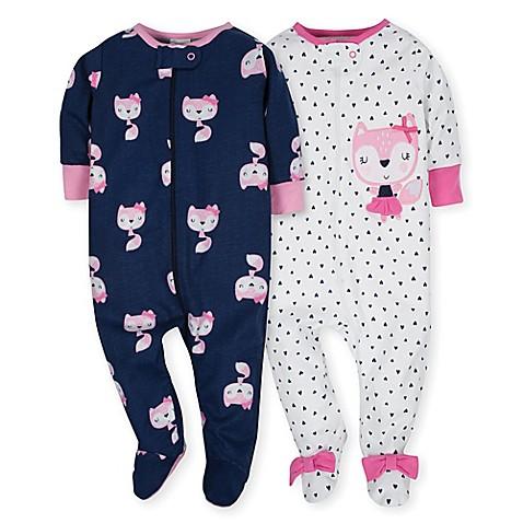 49168310e Gerber 2 Pack Zip Front Sleep  n Play Girl Pink Fox 6-9 Months ...