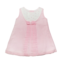 Karela Kids Linen Dress Girl White-Pink