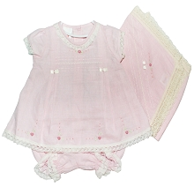 Karela Kids Linen Dress Embroidery Flower with Blanket Pink