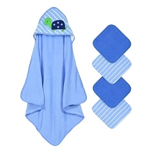 Cuddle Time 5 pack Hooded Towel and Washcloths Set Turtle-Blue