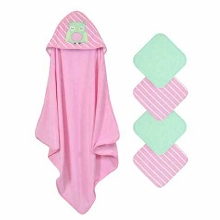 Cuddle Time 5 pack Hooded Towel and Washcloths Set Owl-Pink