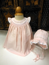 Will'beth Linen Dress with Bonnet 3 Pieces, Pink