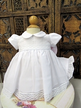 Will'beth Christening Dress with Bonnet, White