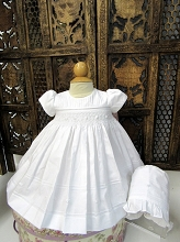 Will'beth Smocked Dress with Bonnet White