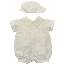 Karela Kids Linen Bubble Romper with Cap Ivory