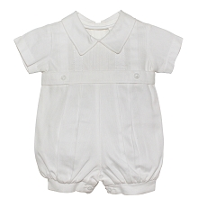 Karela Kids Pique Bubble Romper Boy White
