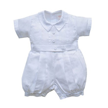 Karela Kids Christening Bubble Romper Pique Boy-White