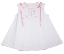 Karela Kids Pique Dress Girl with Ribbons White-Pink