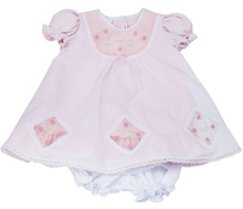 Karela Kids Dress Cotton with Embroidery Flower in  Pink