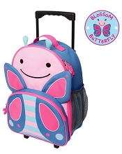 Skip Hop Zoo Luggage Little Kid Rolling Luggage, Butterfly