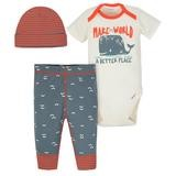 Gerber Whale 3 Pieces Bodysuit, Pant and Cap Set, 6-9 Months-Boy