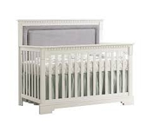 Natart Juvenile Ithaca 5-in-1 Convertible Crib with Upholstered Panel Fog