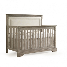 Natart Juvenile Ithaca 5-in-1 Convertible Crib with Upholstered Panel Talc