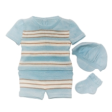 Karela Kids Knitted Short Set 4 Pieces  Boy Stripe Blue with Camel