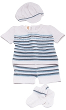 Karela Kids Knitted Short Set 4 Pieces  Boy White with Stripe Blue and Grey