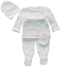 Karela Kids Knitted Set Boy White, Newborn