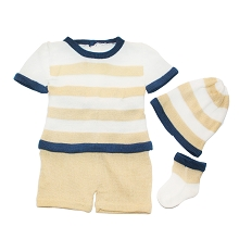 Karela Kids Knitted Short Set 4 Pieces  Boy Ivory-Navy