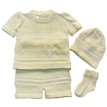 Karela Kids Knitted Short Set 4 Pieces  Boy Yellow