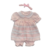 Karela Kids 3 Pieces Knitted  Girl Dress with Headband