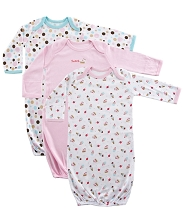 Luvable Friends 3-Pack Rib Knit Infant Gowns 0/6 Months-Pink