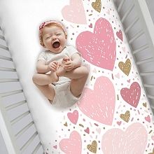 Crown Craft Nojo Crib Sheet Love and Kisses