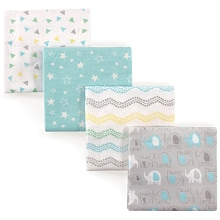 Luvable Friends 4 Pack Flannel Receiving Blankets, Gray Elephant