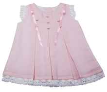 Karela Kids Dress Cotton with Lace and Embroidery Flower White-Pink
