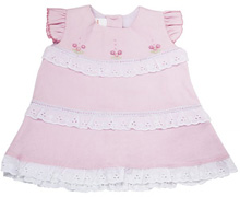Karela Kids Dress Cotton with Lace and Embroidery Flower Pink
