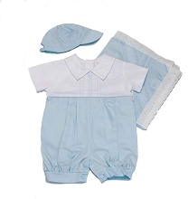 Karela Kids Linen Bubble Romper White-Blue