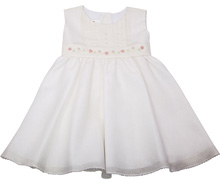 Karela Kids Cotton Dress with Embroidery Flowers Ivory