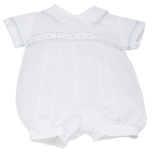 Karela Kids Linen Bubble Romper Boy White-Blue