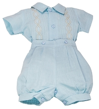 Karela Kids Linen Bubble Romper 2 Pieces Set Boy Blue