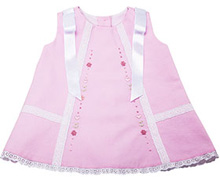 Karela Kids Pique Dress with Lace and Ribbons