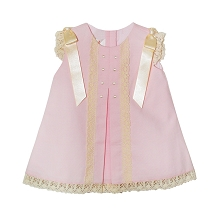 Karela Kids Pique Dress with Lace and Ribbons, Pink-Beige