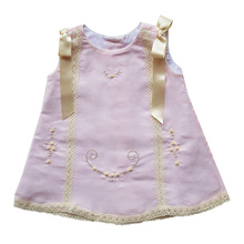 Karela Kids Linen Dress Pink with Beige Lace and Ribbons