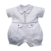 Karela Kids Pique Bubble Romper White with Gray