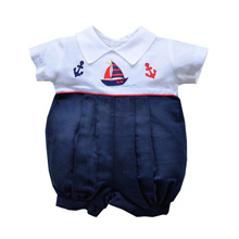 Karela Kids Bubble Romper Linen White-Navy